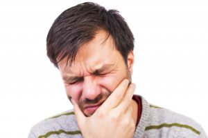 Man having dental pain.